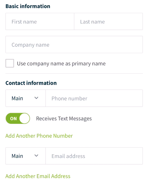 client contact information fields