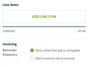 button to add line items to the job
