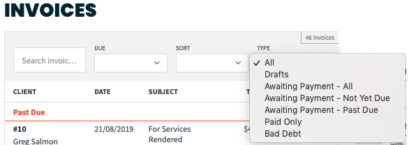 invoice filter options
