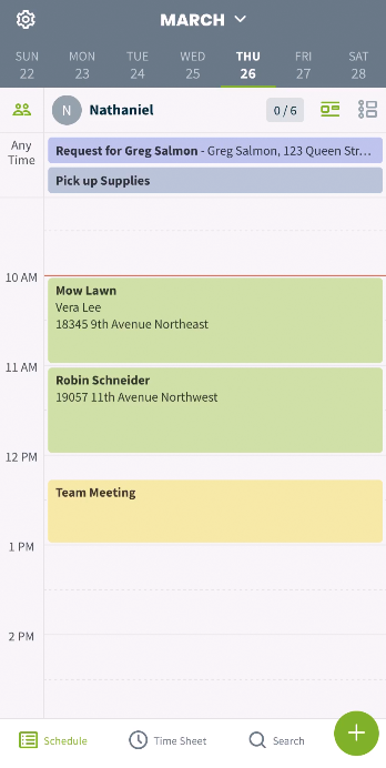 day view of the schedule in the Jobber app