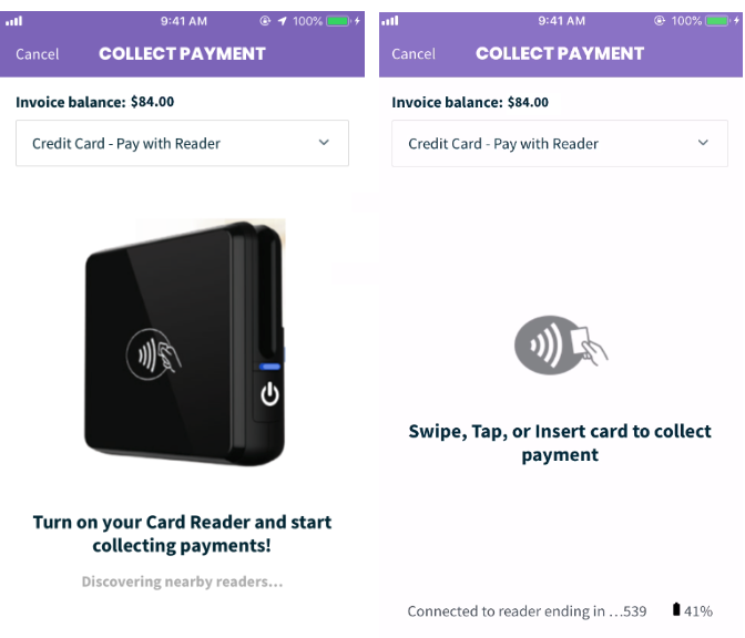 Collect payment screen when using the card reader