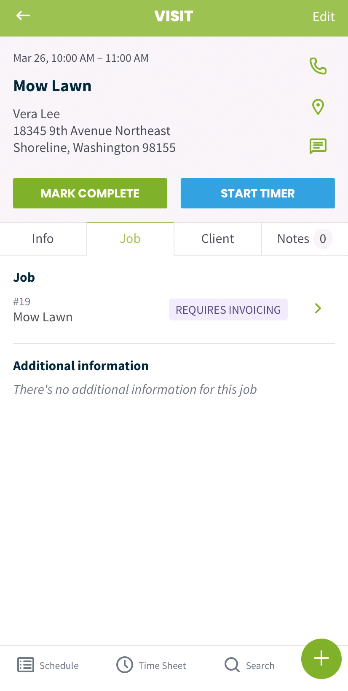 Visit with the job tab displayed