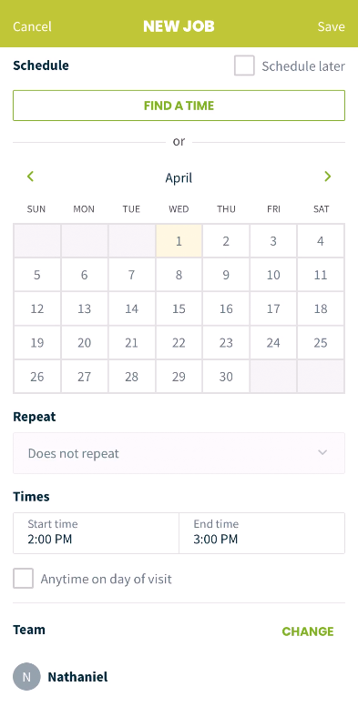 scheduling portion of the new jobs screen