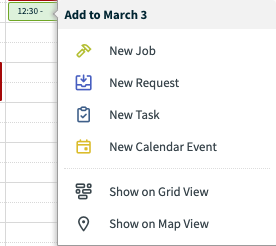 time slot selected with options to create a new job, request, task, or calendar event at this time