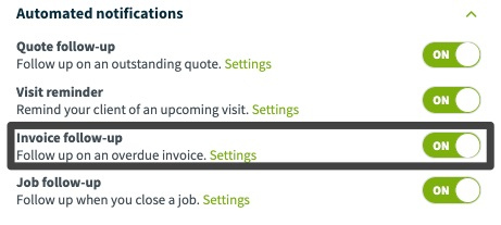 automated notifications settings with invoice follow-ups highlighted