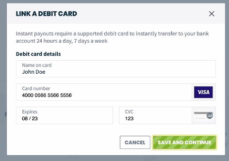 Link a debit card fields for card name, number, expiry, and CVC