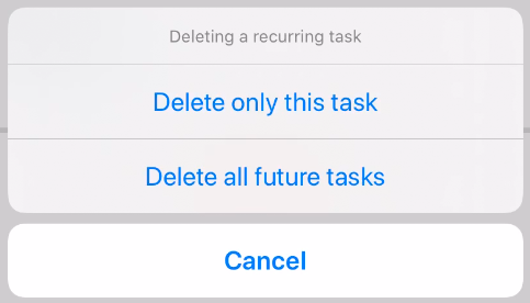 delete a recurring task options
