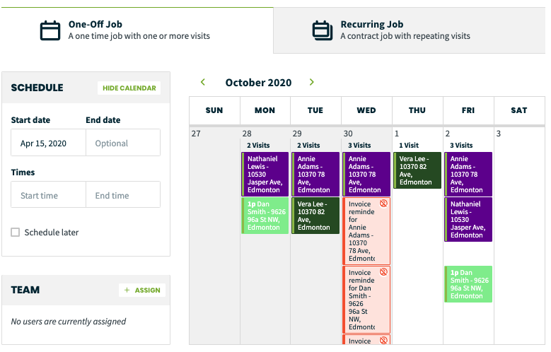 preview of the month view of the calendar showing what the scheduling availability looks like