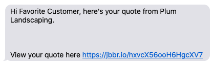 text message with a link to view the quote in client hub