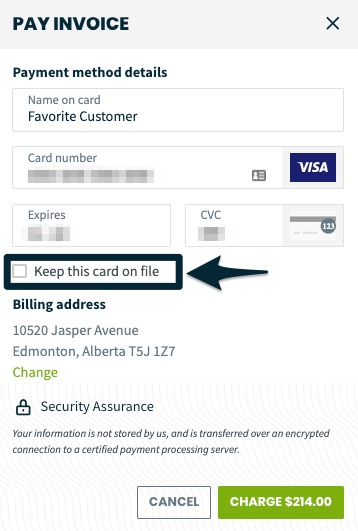 fields to enter credit card details
