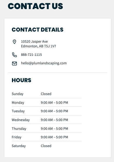 contact us from client hub. shows the phone number and hours of the service provider