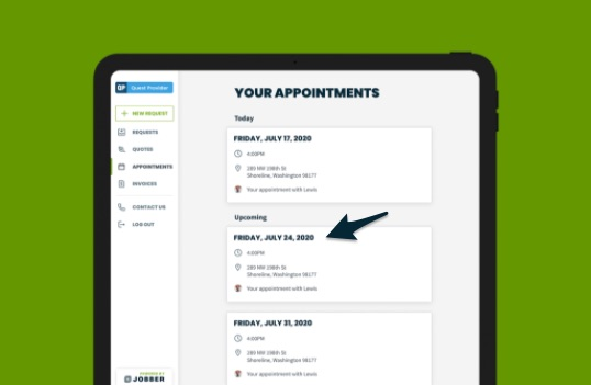 appointments in client hub with an arrow