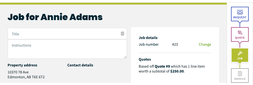 client creation screen with a progress bar showing it was generated from a request, then a quote, and now a job.