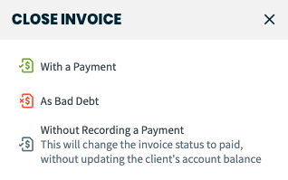 Close invoice options