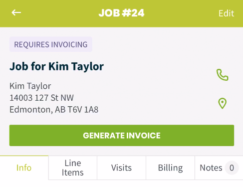 Job overview with a button for generate invoice