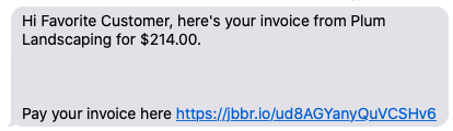 text message letting you know you've received an invoice with a link to pay it in client hub