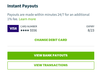 instant payout details