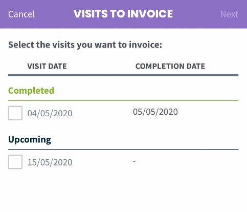 list of visits that can be invoiced for