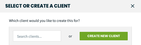 search clients or create a new client