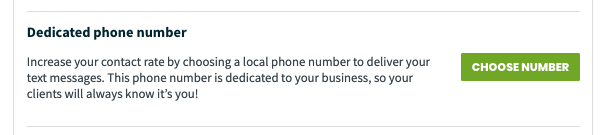 Dedicated phone number section in the company settings page