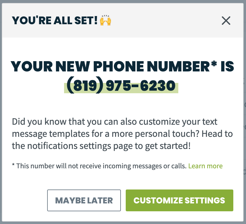 pop-up with the selected phone number listed and a prompt to set up your text message templates if you haven't already