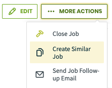 More actions with create similar job highlighted
