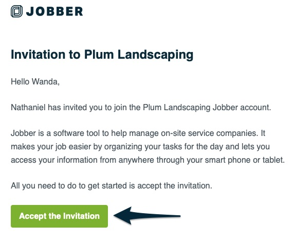 email invitation to join a company's jobber account. There is an arrow pointing to a button for accept invitation