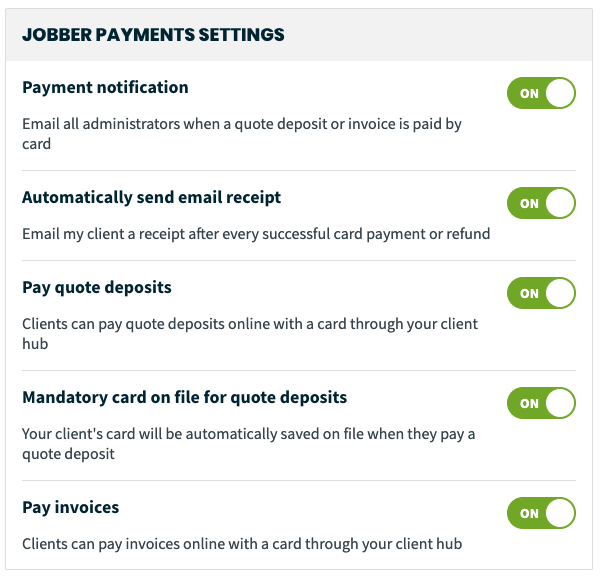 Jobber Payments settings toggles