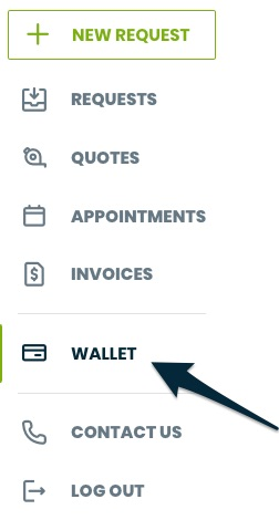 client hub side navigation with an arrow pointing to wallet
