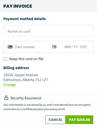 pay invoice window where credit card details can be entered