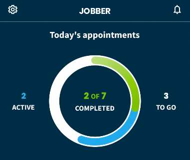 Today's appointments section. There is a ring that shows the progress of the appointments for the day