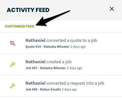 activity feed with an arrow pointing to the customize feed option.