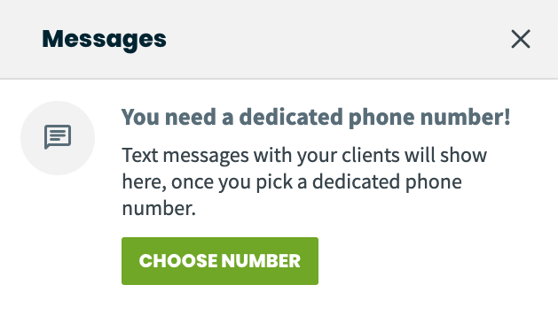 Message center with a prompt to select a dedicated phone number