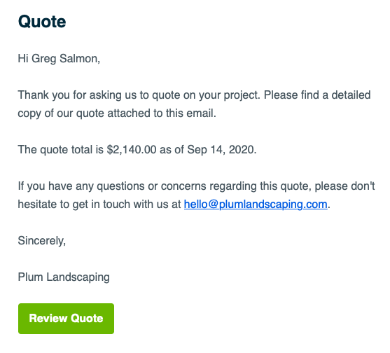 email preview asking a client to view their quote