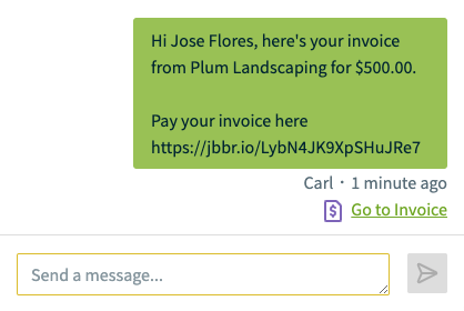 text message conversation with a link to go to the invoice in Jobber