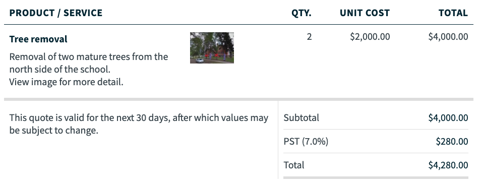 line item for tree removal with a thumbnail of an image added to the line item
