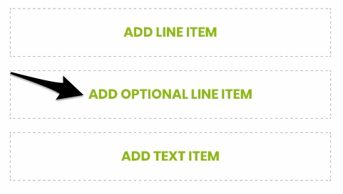 arrow pointing to the button to add an optional line item