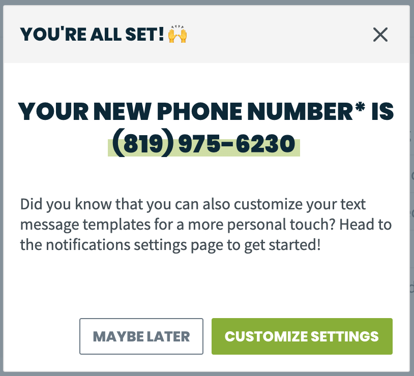 your new phone number