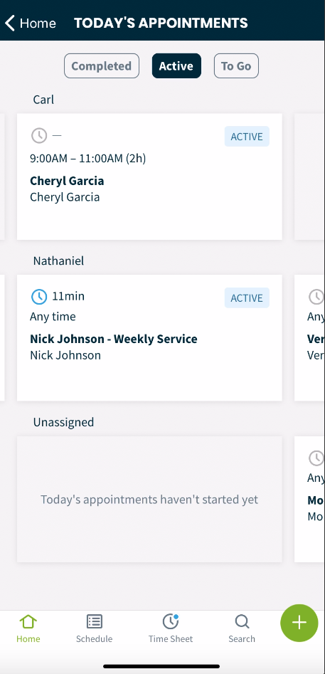 appointments with the active button selected