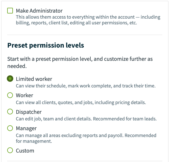 preset permission levels and an option for custom