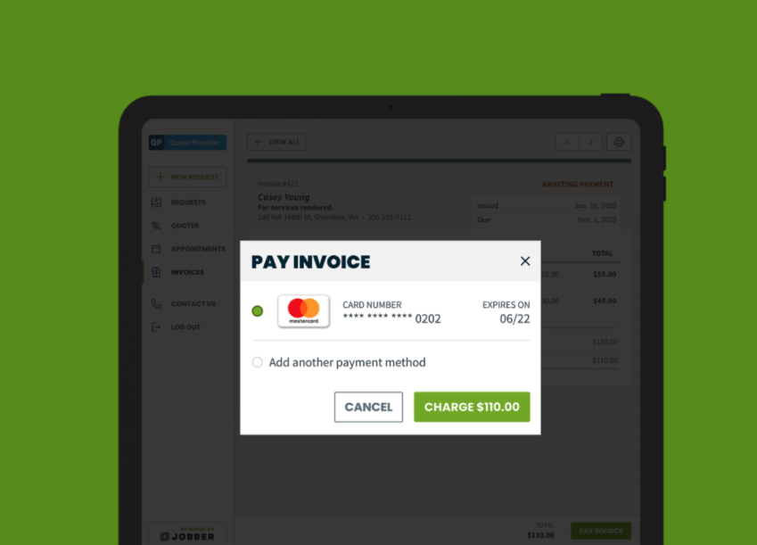 Jobber Payments option for a client to pay an invoice