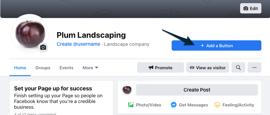 a facebook business profile with an arrow pointing to the button for add a button