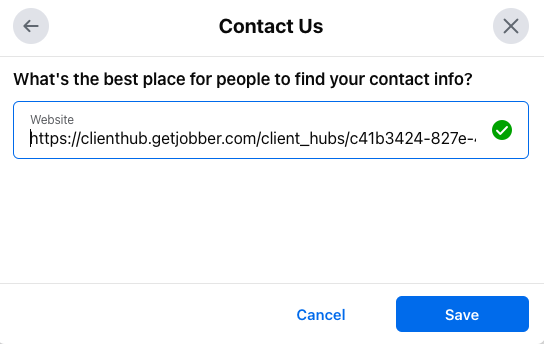 Facebook prompt to setup a contact us button with a field to enter your website URL